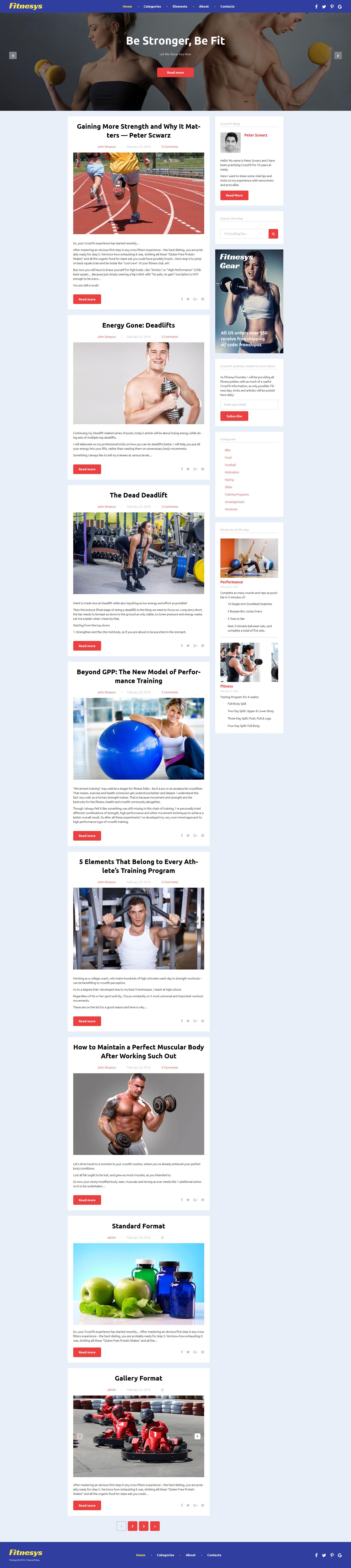 "Responzivní WordPress motiv ""Fitnesys - Fitness & Gym Blog"" #58401 - screenshot"
