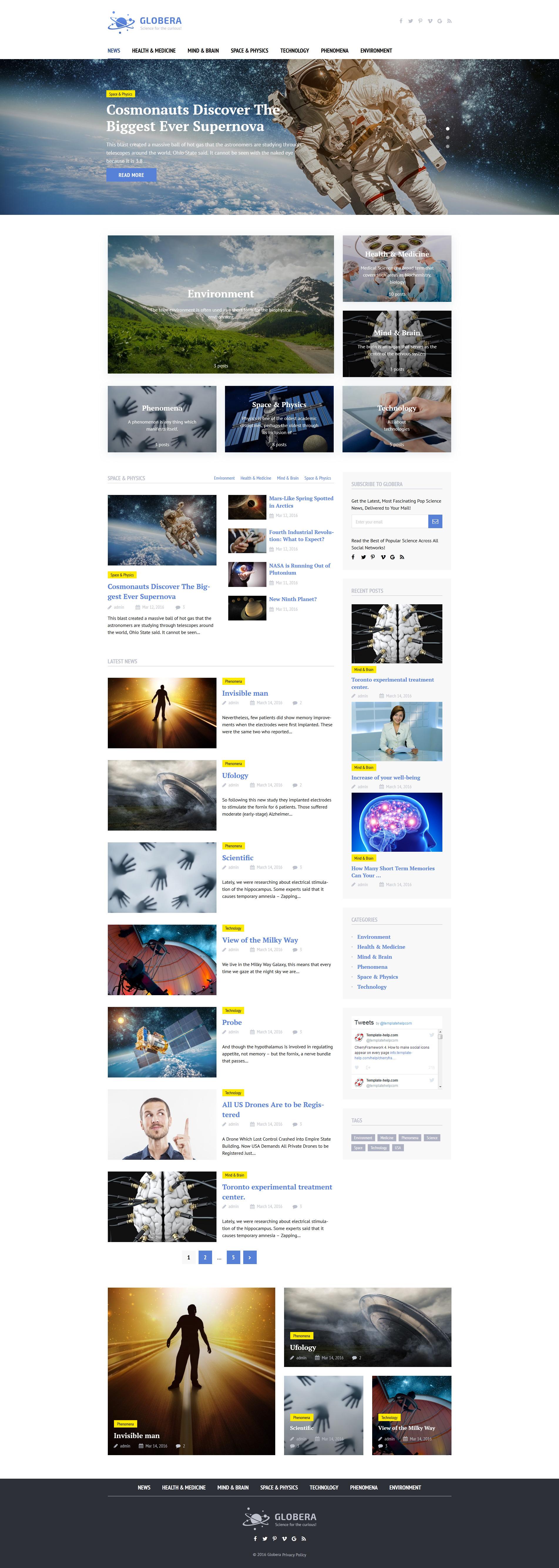 "Responzivní WordPress motiv ""Science News Portal & Magazine Wordpress Theme"" #58459 - screenshot"
