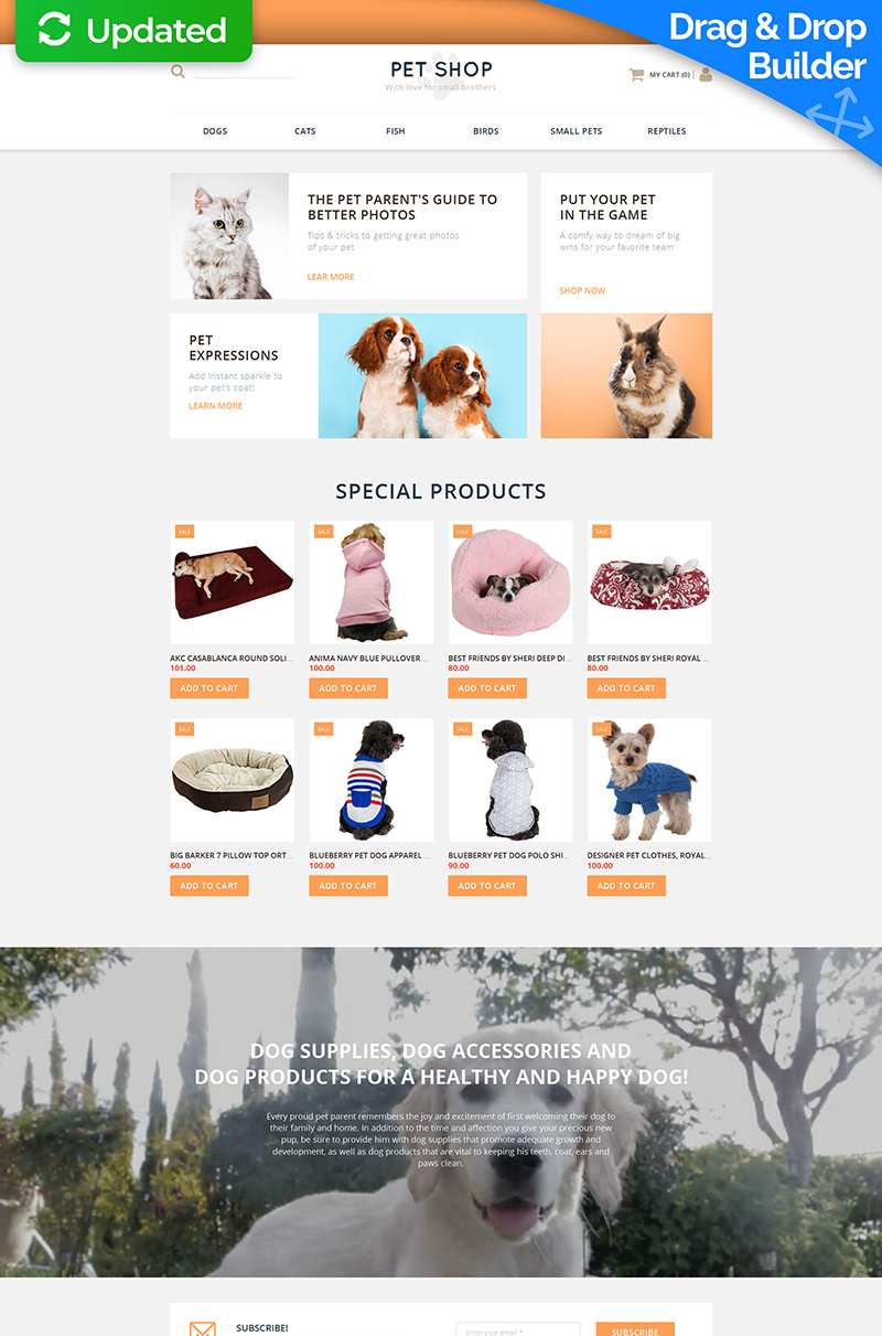 Reszponzív Állatkereskedés témakörű MotoCMS Ecommerce sablon 58489
