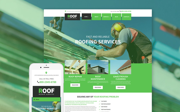 Roof Repair WordPress Theme New Screenshots BIG