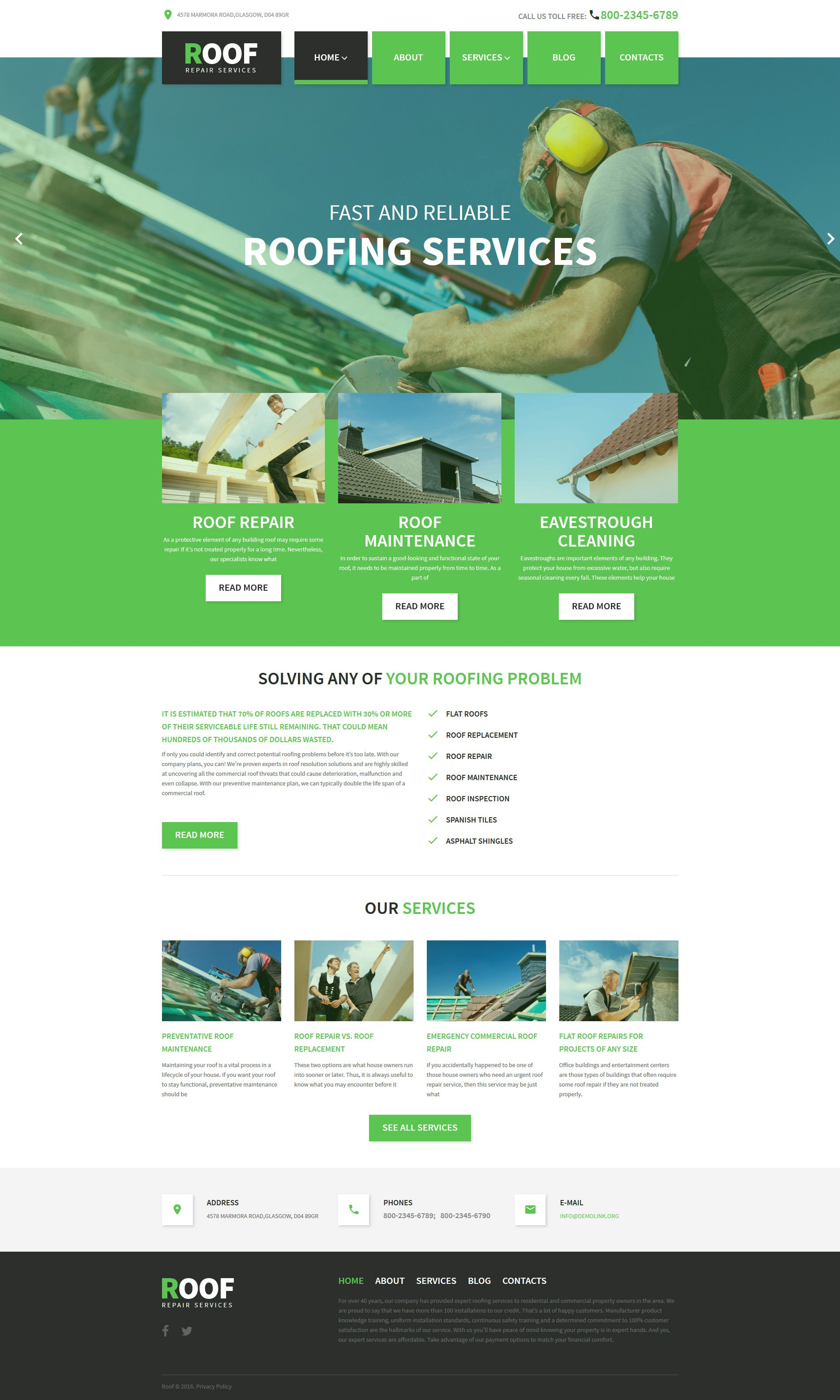 Roof repair wordpress theme for Wordpress theme with multiple page templates