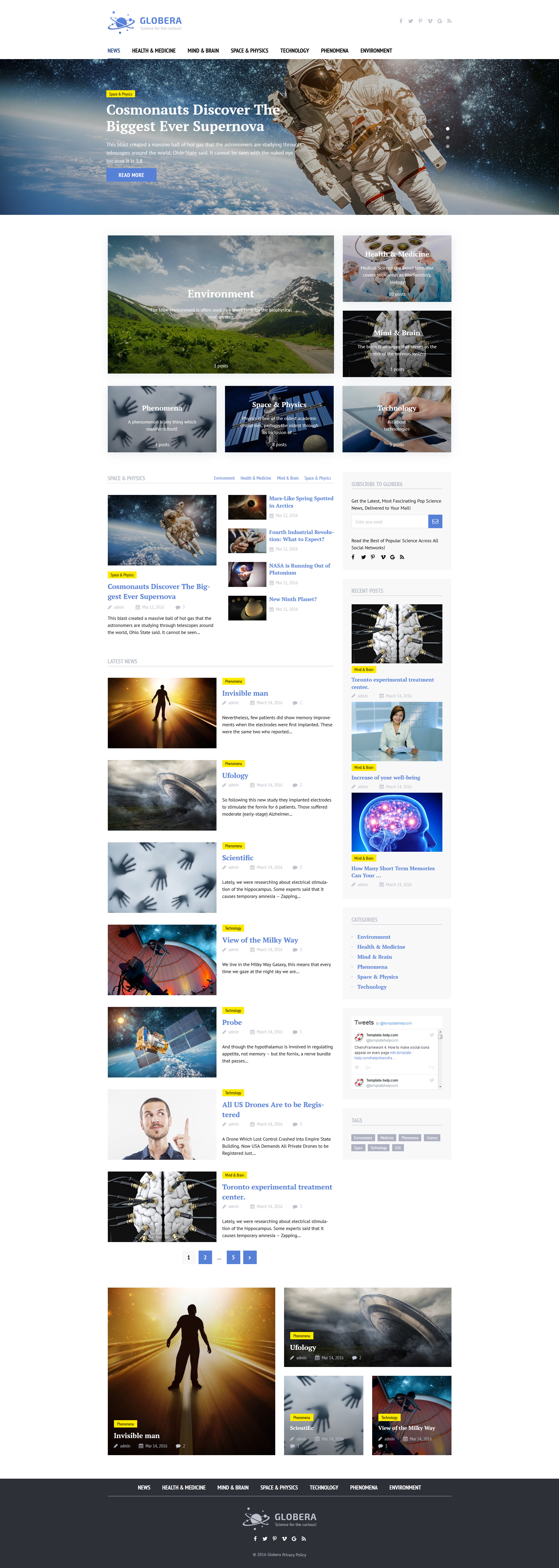 Science News Portal & Magazine Wordpress Theme WordPress Theme - screenshot