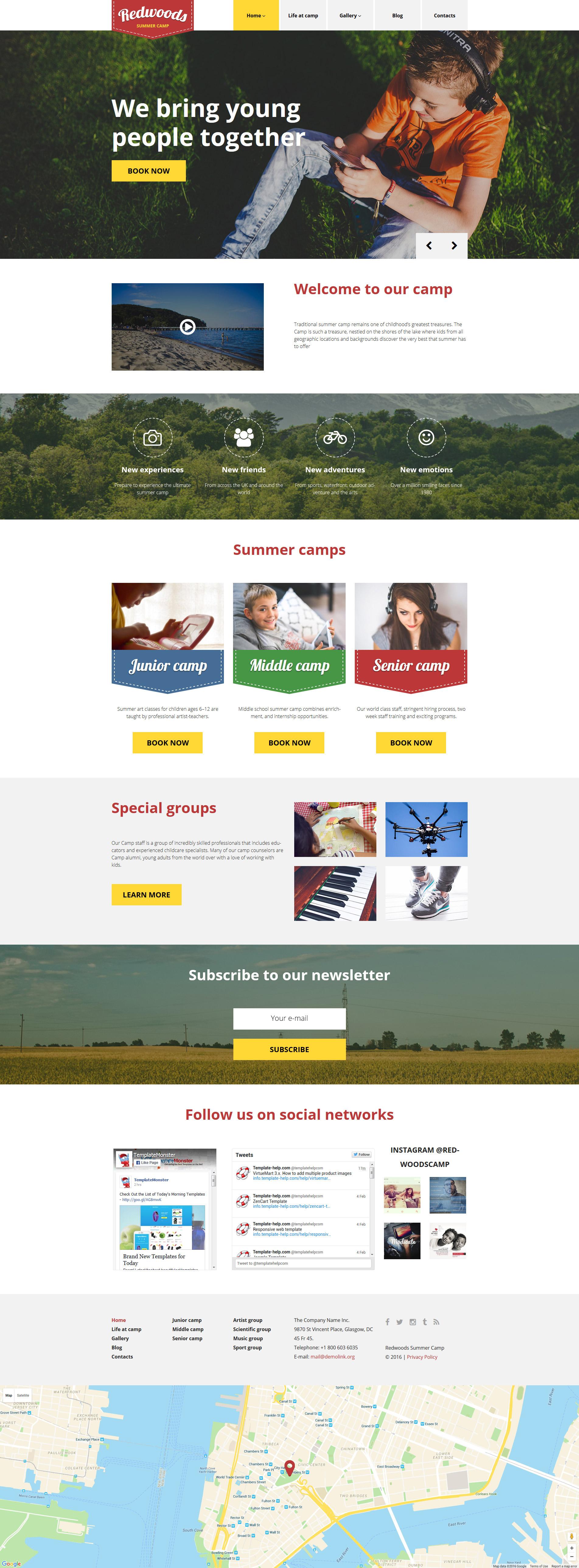 Tema de WordPress #58465 para Sitio de Campamentos de verano