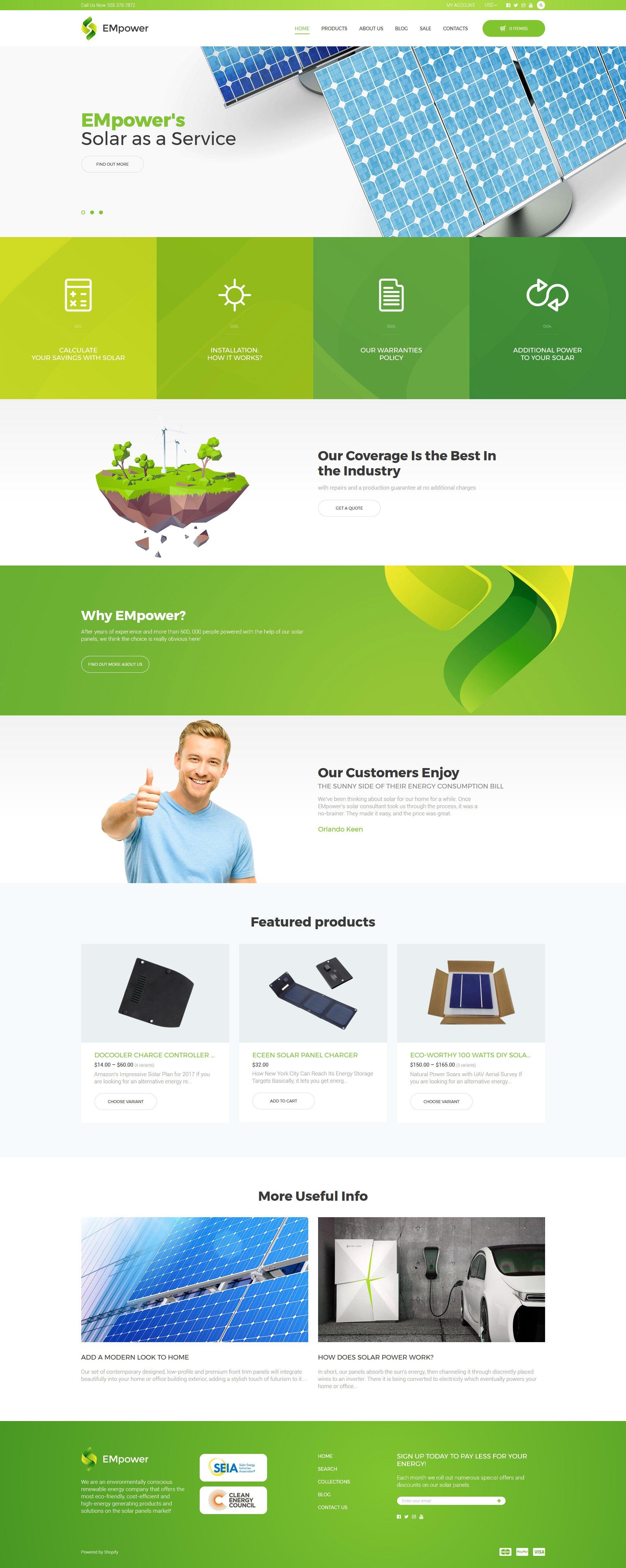 "Tema Shopify ""EMpower - Solar Energy"" #58455"