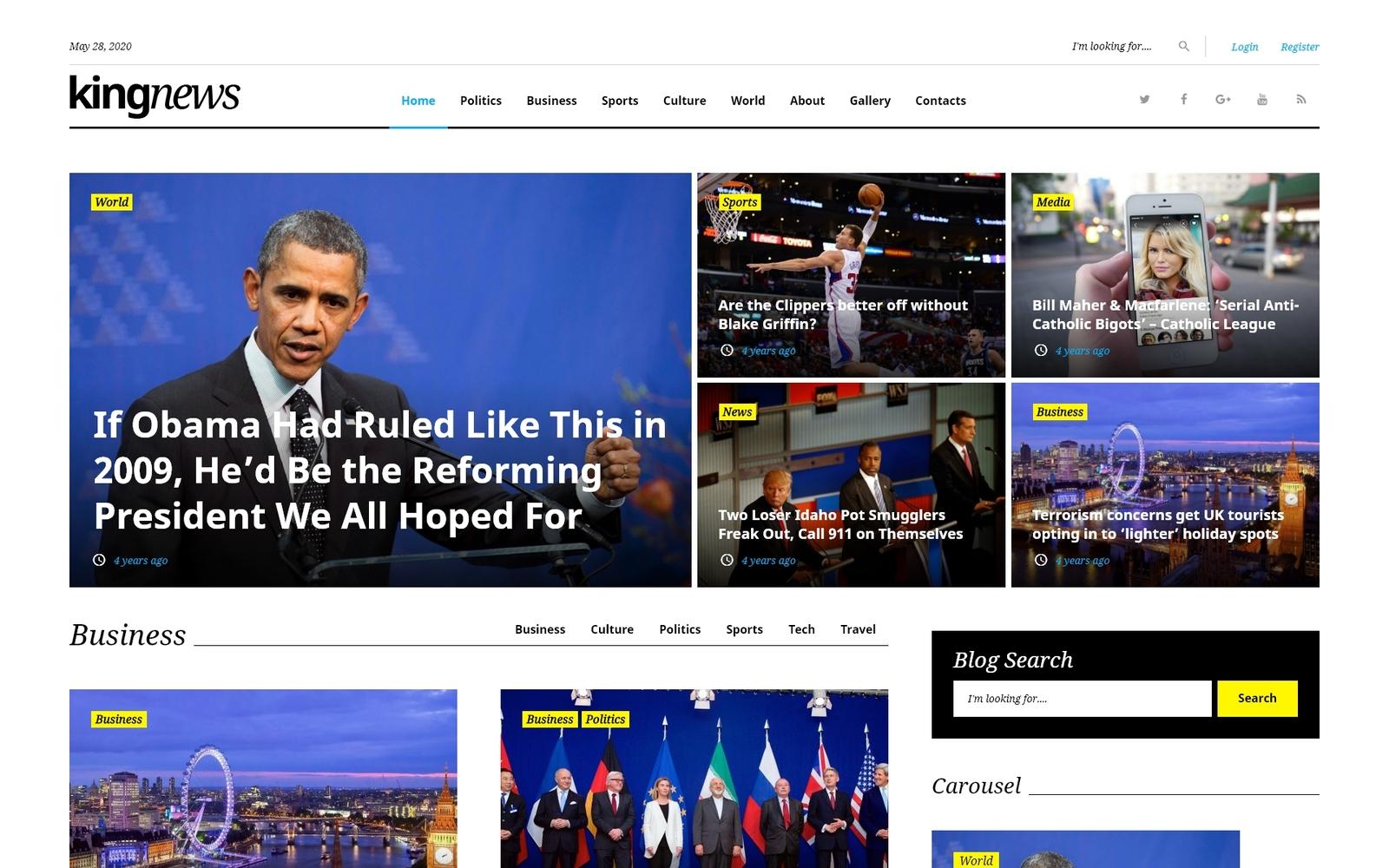 "Tema WordPress Responsive #58404 ""KingNews - Portale di notizie e Blog"""