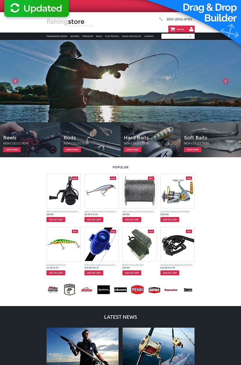 Template Ecommerce MotoCMS Flexível para Sites de Pescaria №58488