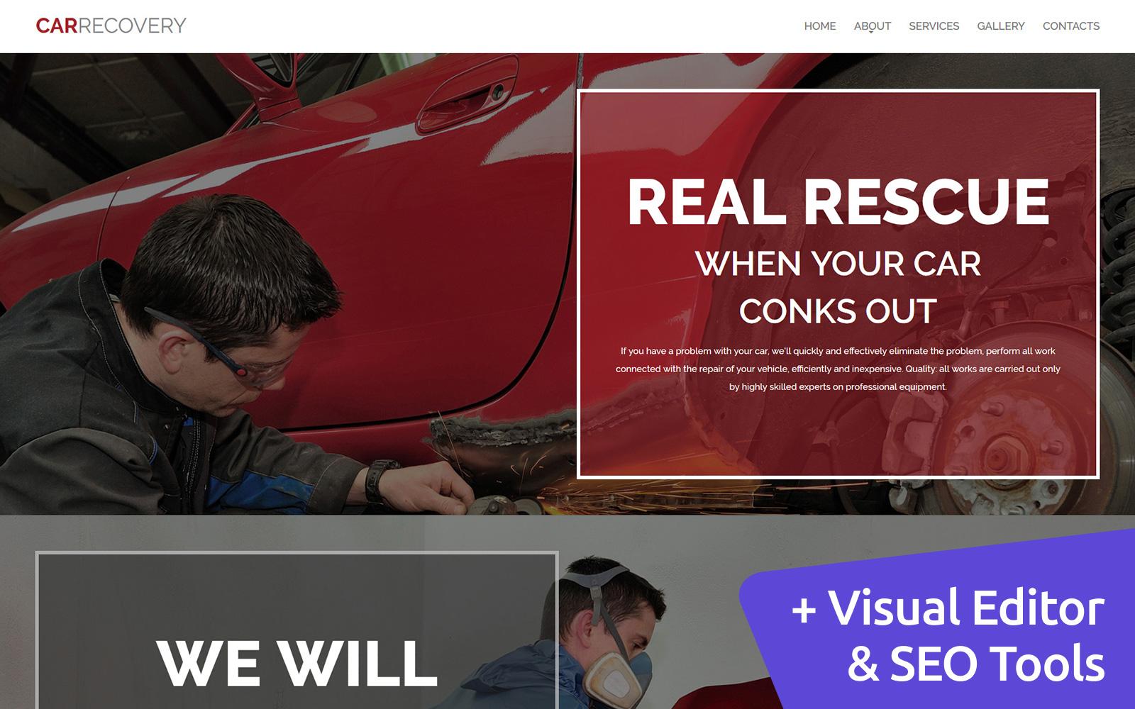 """Template Moto CMS 3 Responsive #58432 """"Car Repair"""""""