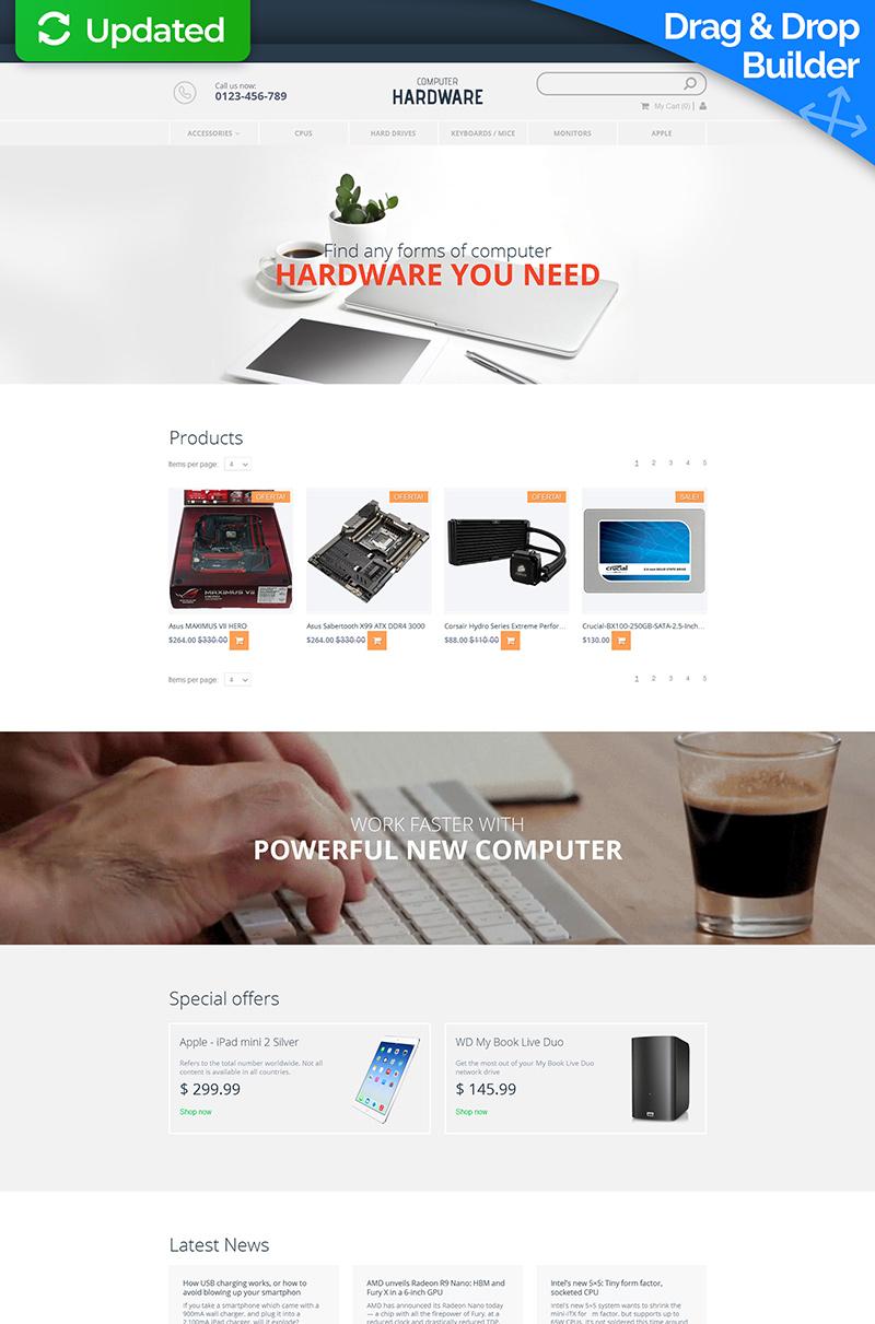 Template MotoCMS E-commerce Responsive #58486 per Un Sito di Negozio di Computer