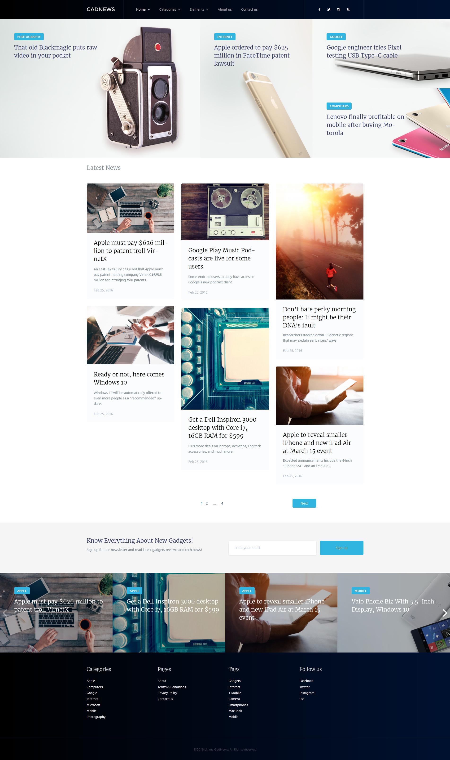 "WordPress Theme namens ""Gadnews - Technology Review Magazine"" #58445"