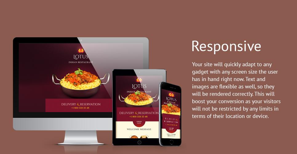 Lotus Restaurant  Responsive Landing Page Template