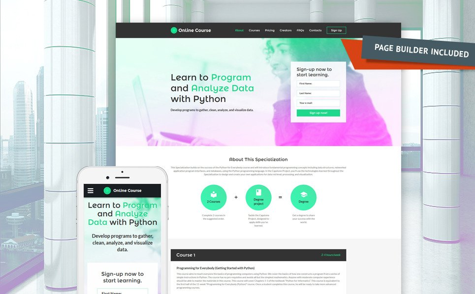 Reszponzív Oktatási  Nyítóoldal sablon New Screenshots BIG