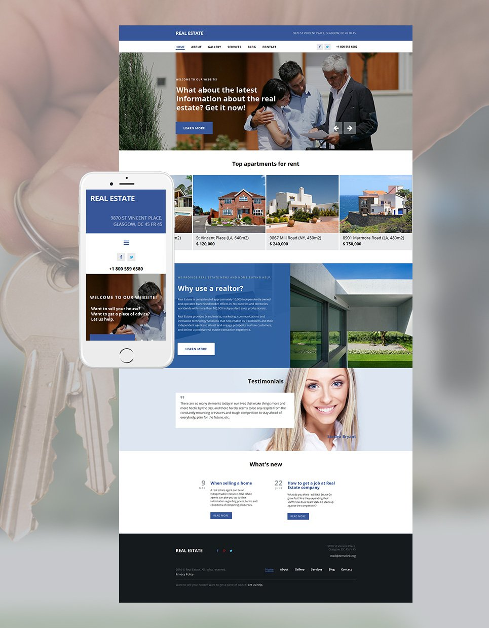 Blue and white real estate site template