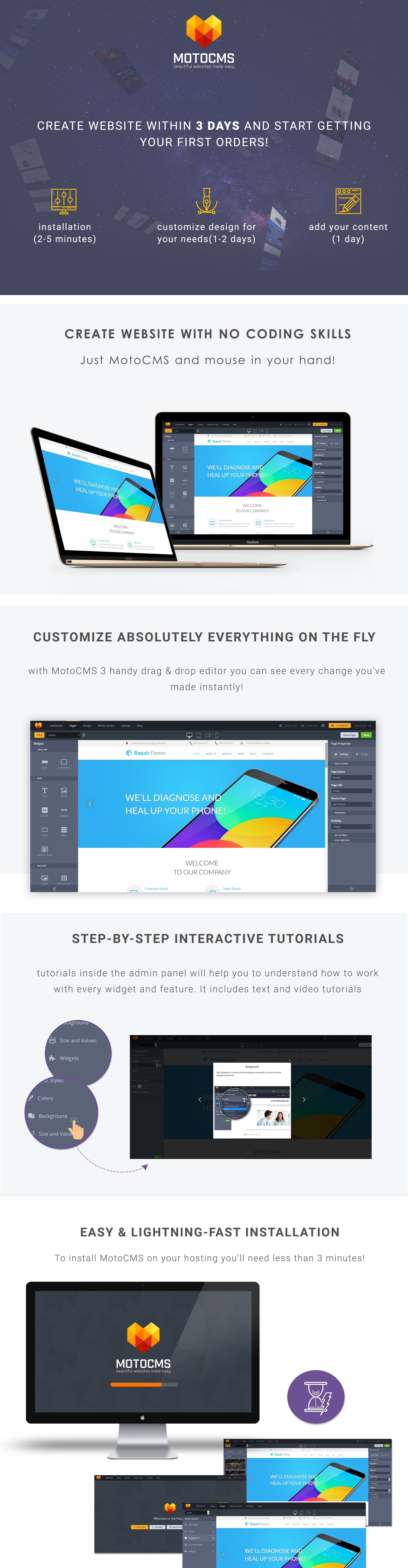Repair Theme - Mobile Service Moto CMS 3 Template