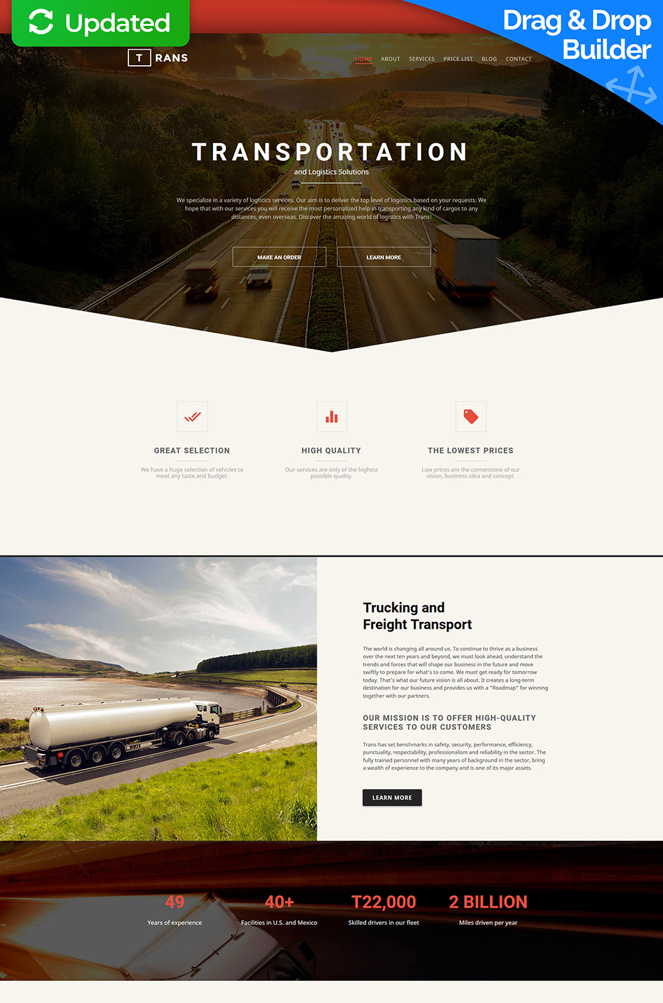 Responsive theme for cargo delivery site