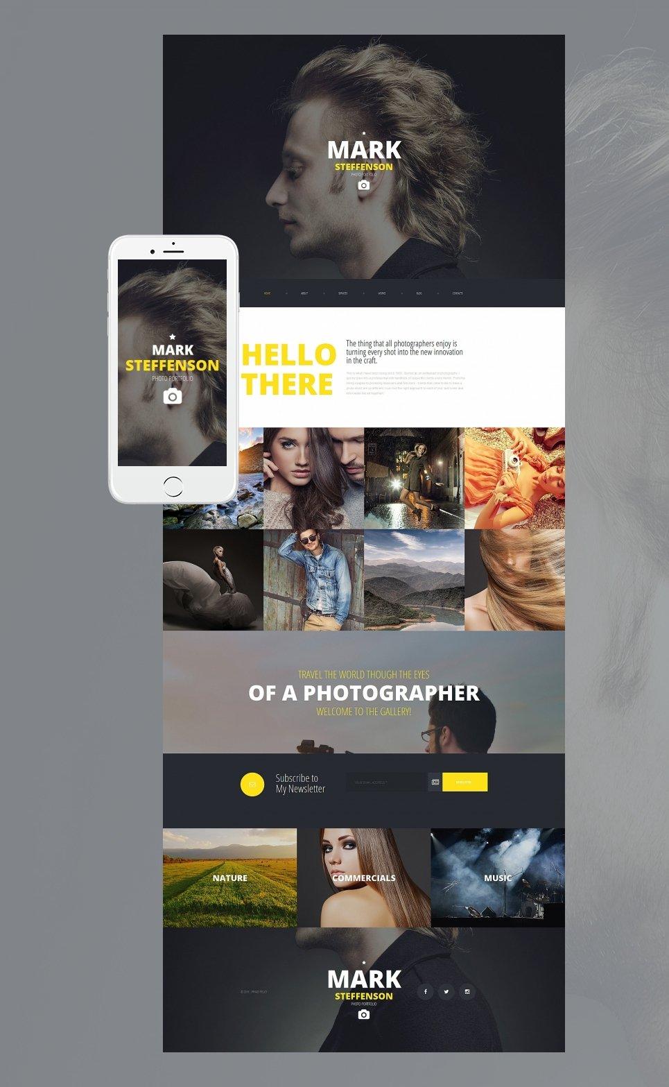 Photography website with sticky menu bar