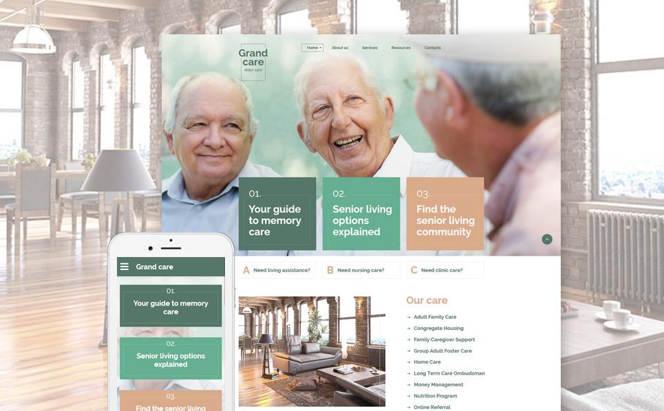 Reszponzív Idősgondozás Weboldal sablon New Screenshots BIG