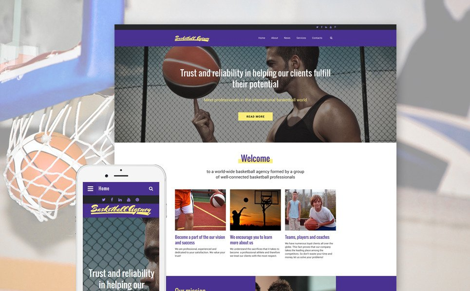 Адаптивний Шаблон сайту на тему баскетбол New Screenshots BIG
