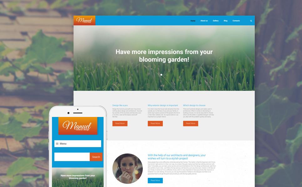Reszponzív Kültéri dizájn  WordPress sablon New Screenshots BIG