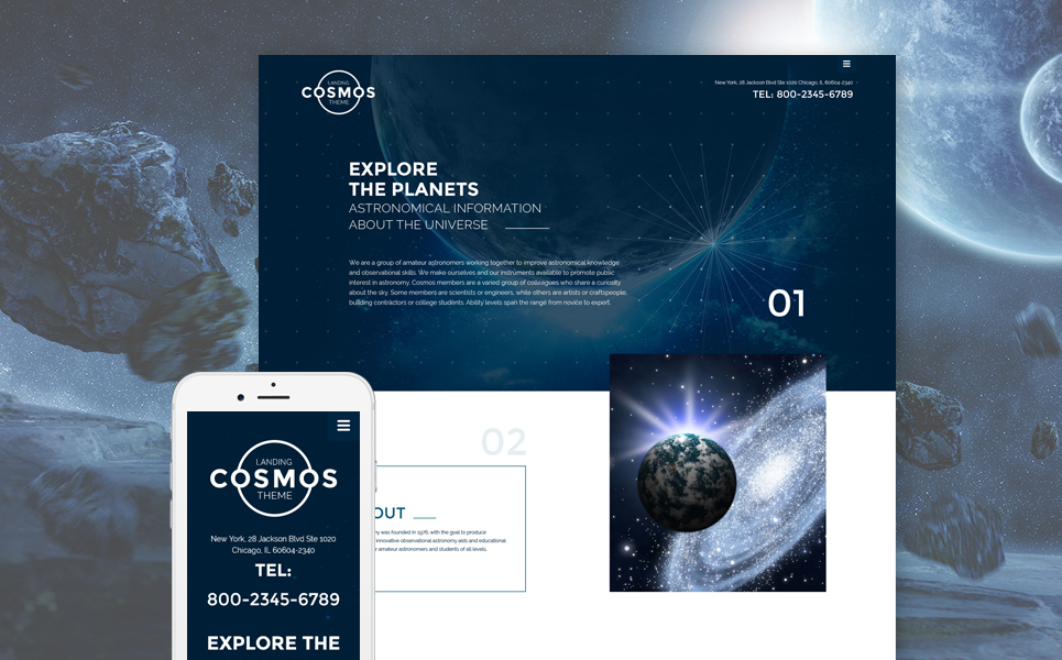 Cosmos Landing Theme template illustration image