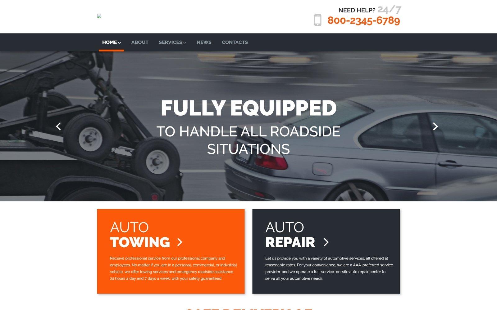 Адаптивный шаблон сайта на тему буксировка авто #58528
