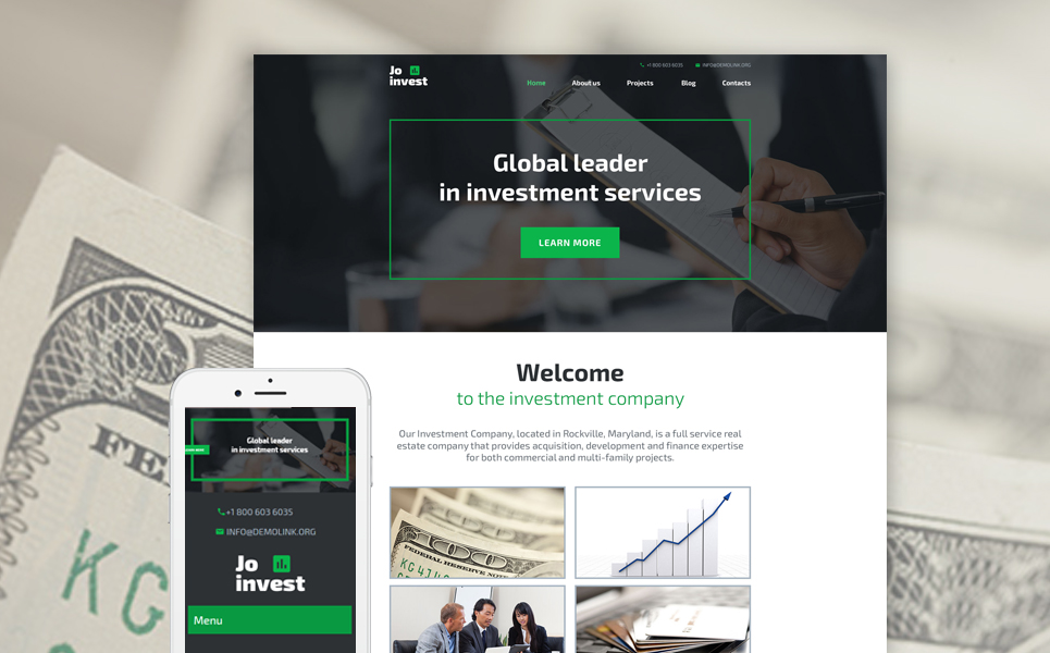 Адаптивный шаблон сайта на тему инвестиционная компания #58591