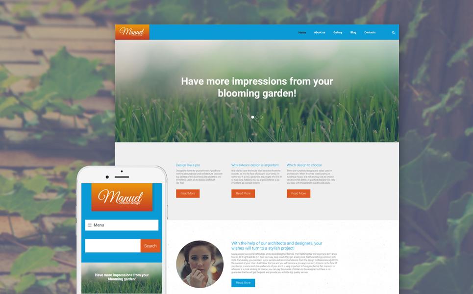 Адаптивный шаблон сайта на тему дизайн экстерьера #58592