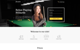 Billiards Responsive Landing Page Template