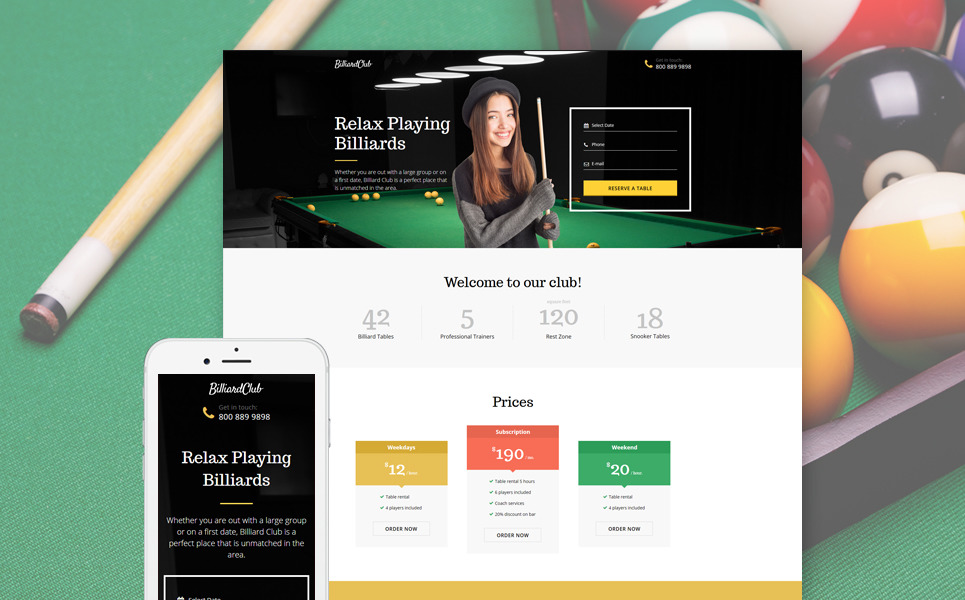 Billiards Responsive Landing Page Template New Screenshots BIG