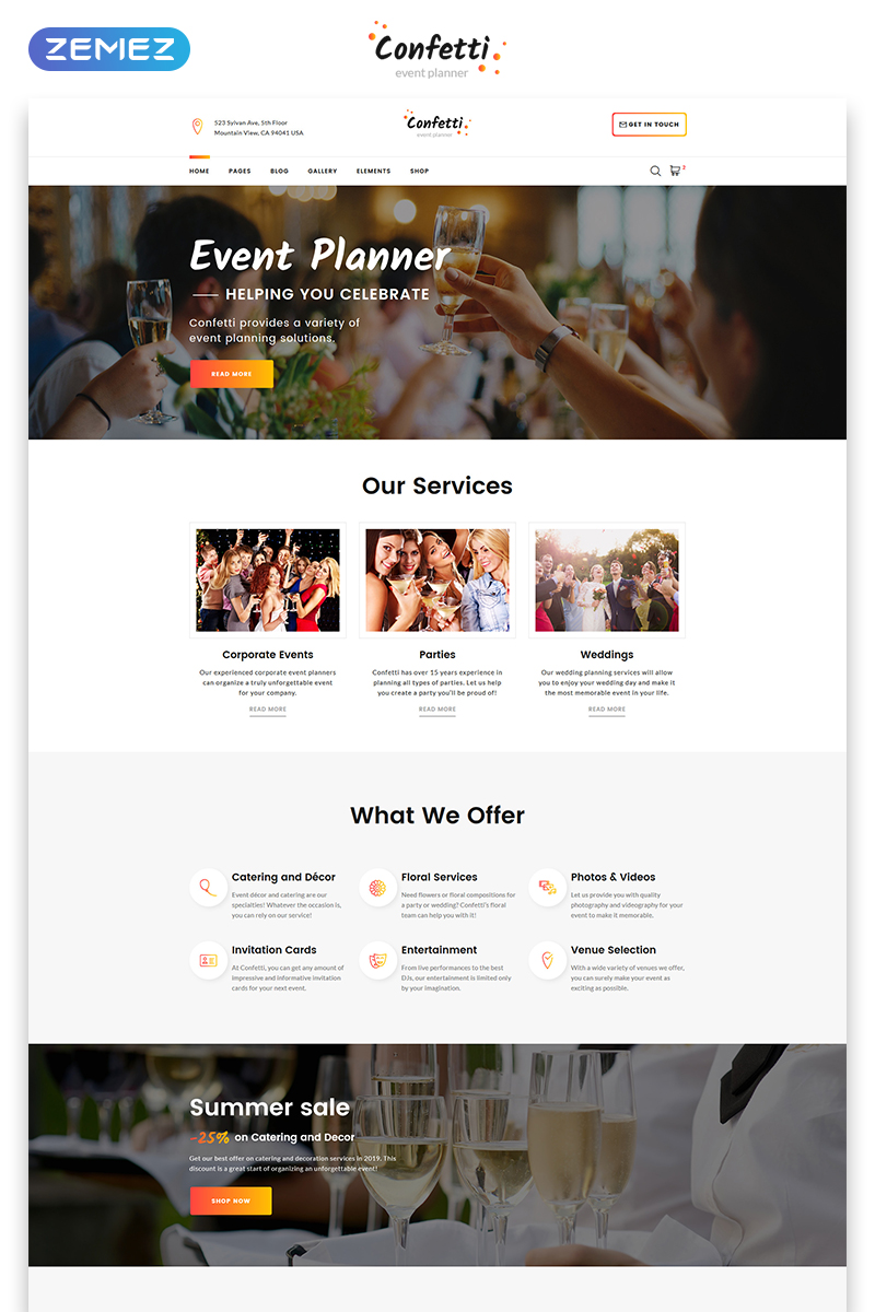 event planner website template. Black Bedroom Furniture Sets. Home Design Ideas