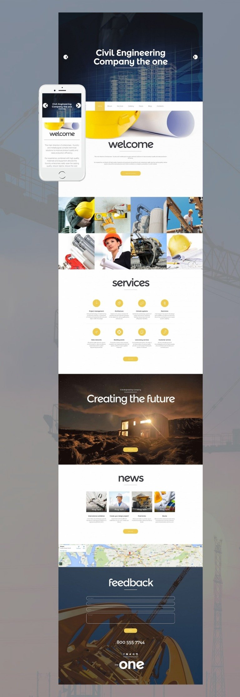 Civil Engineering Responsive Moto CMS 3 Template New Screenshots BIG