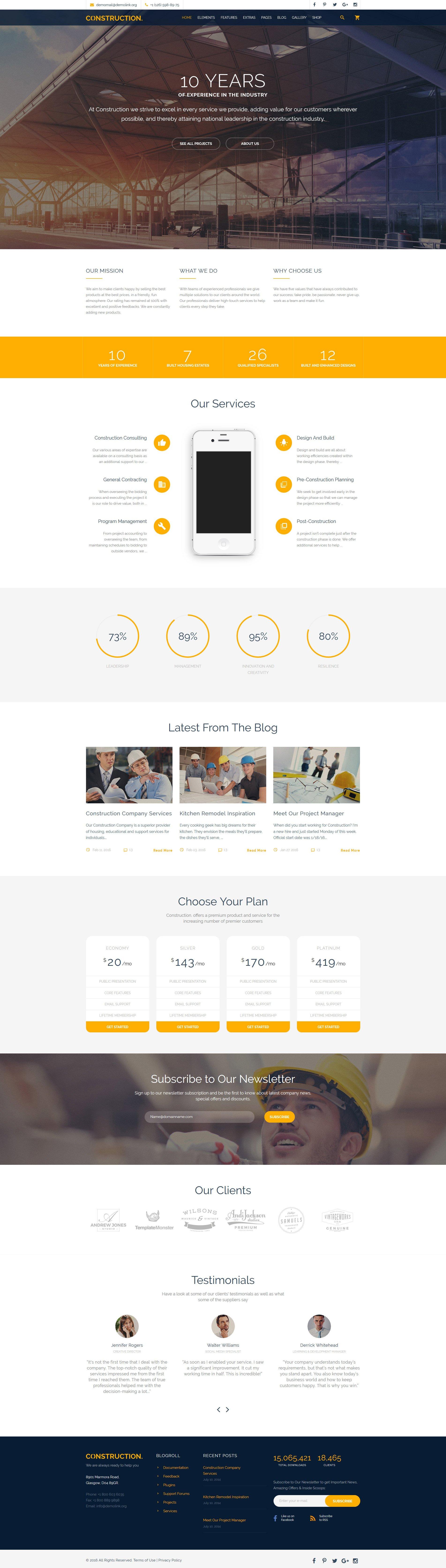 """Construction Multipurpose Website Template"" 响应式网页模板 #58533"
