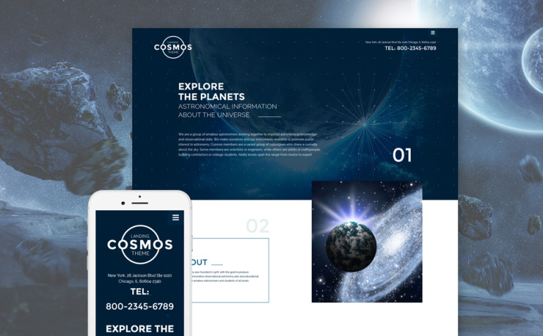 Cosmos Landing Theme Website Template