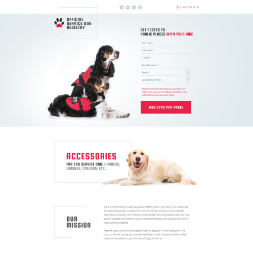 Official Service Dog Registry - Responsive Landing Page Template