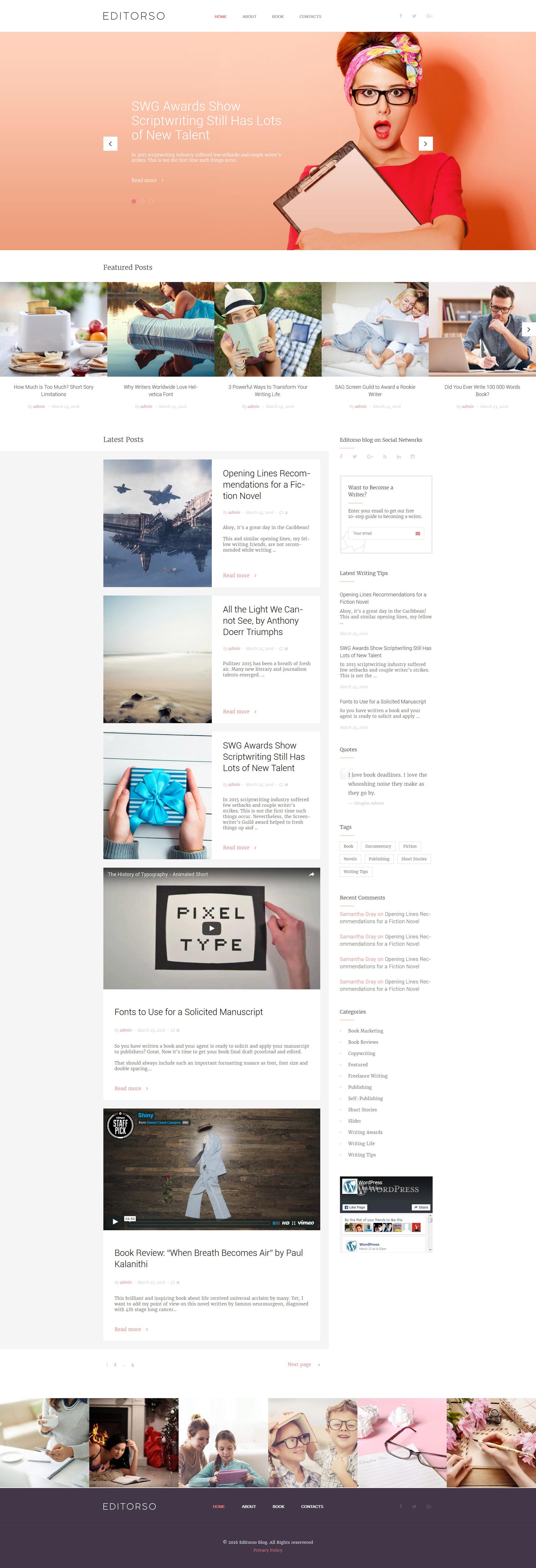 """Editorso - Journalist Blog"" - адаптивний WordPress шаблон №58513"