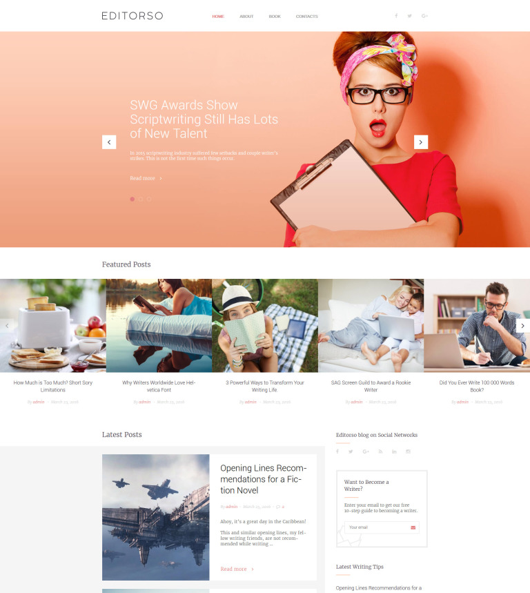 Editorso - Journalist Blog WordPress Theme