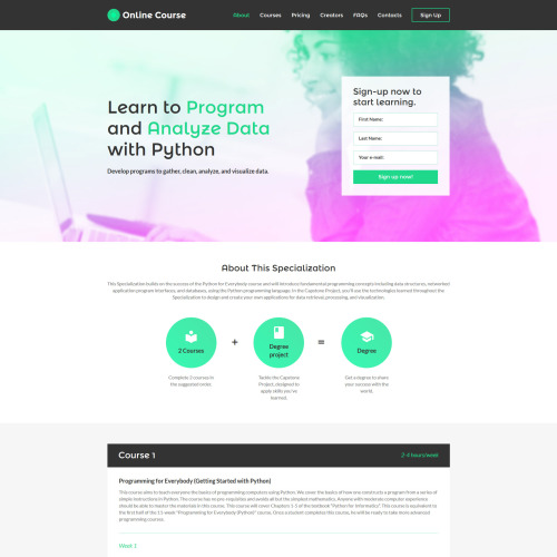 Online Course - Responsive Landing Page Template