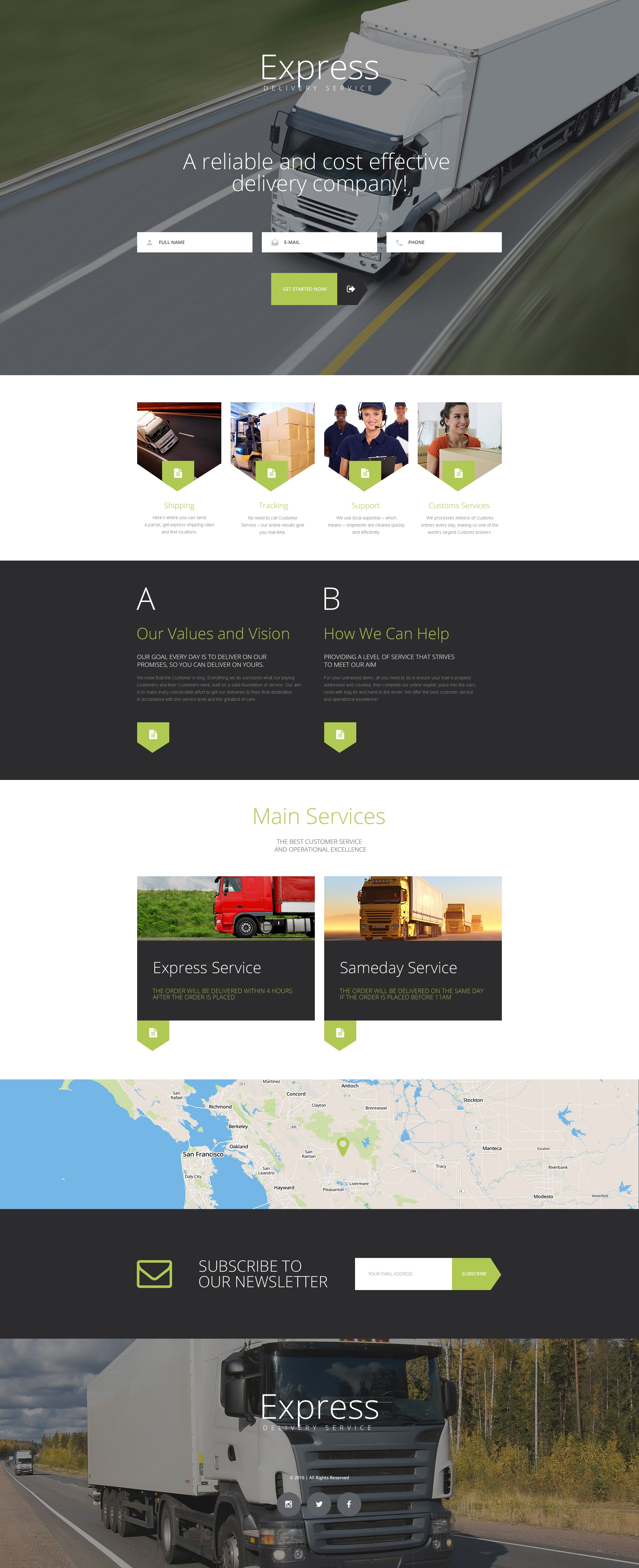 Delivery services landing page template