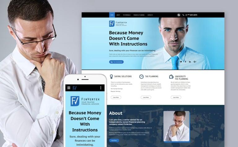 Financial Advisor Responsive Landing Page Template