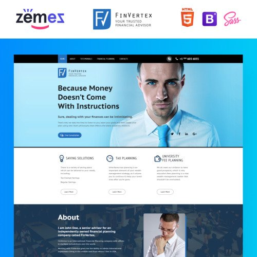 FinVertex - Responsive Landing Page Template