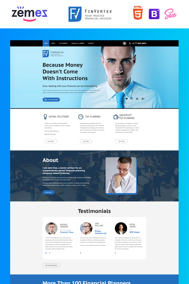 FinVertex - Financial Advisor Responsive HTML Landing Page Template