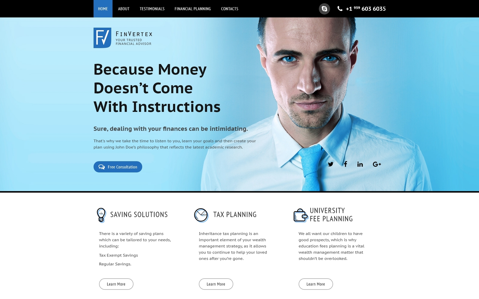 """FinVertex - Financial Advisor Responsive HTML"" 响应式着陆页模板 #58520"