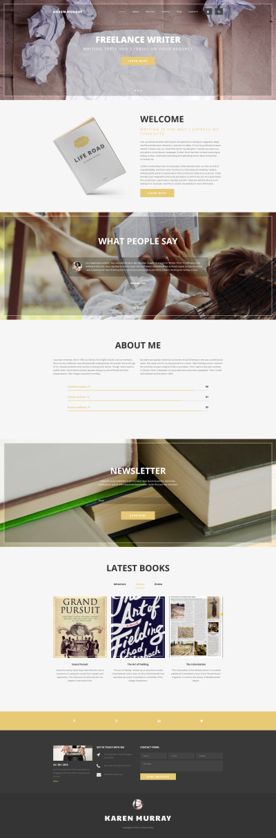 Freelance Writer Drupal Template