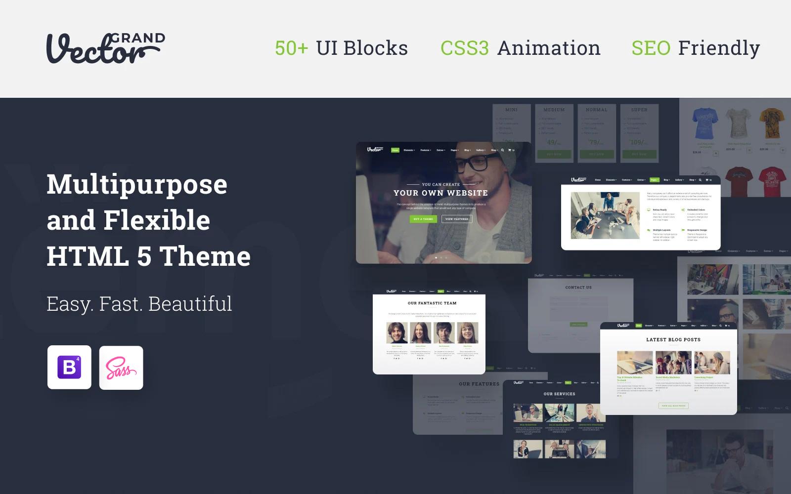 """Grand Vector - Web Design Studio HTML5 Website Template"" 响应式网页模板 #58530"