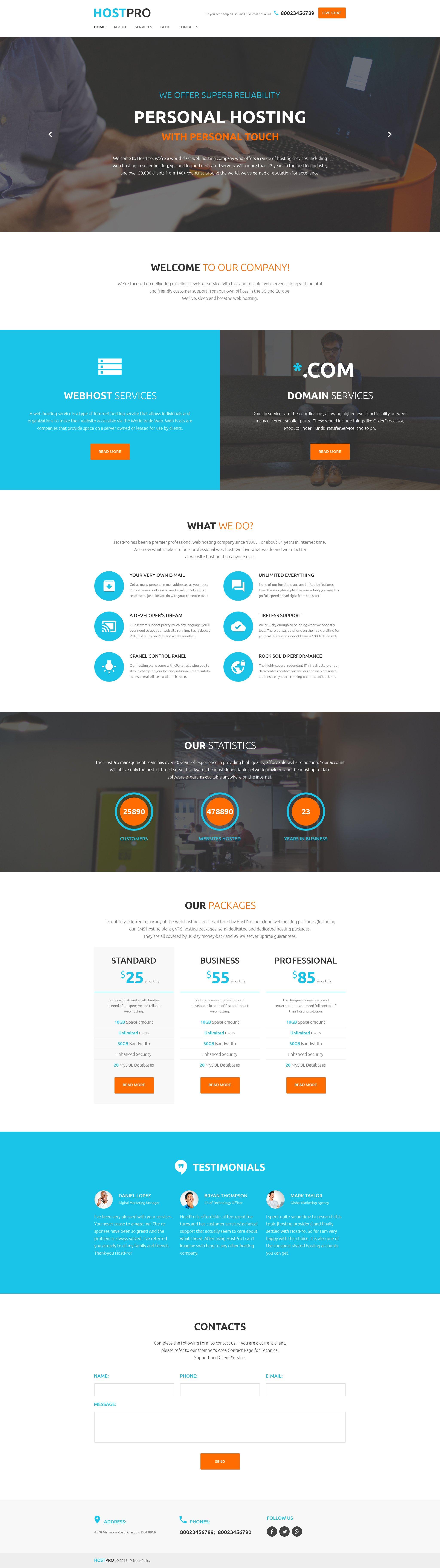 """HostPro"" - адаптивний WordPress шаблон №58537 - скріншот"