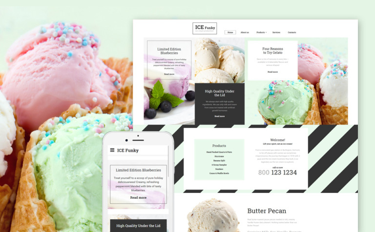 Ice Cream Responsive Website Template