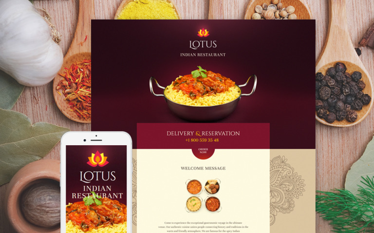 Indian Restaurant Responsive Landing Page Template New Screenshots BIG