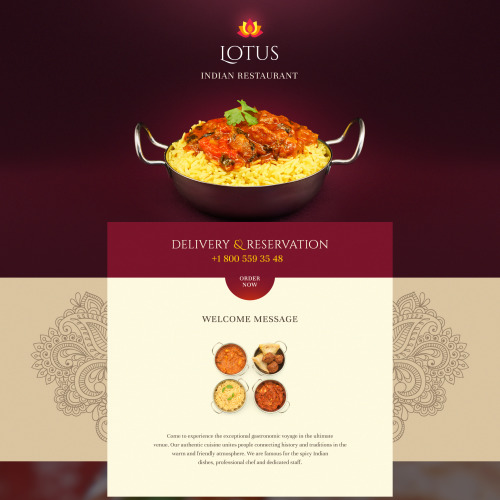Lotus Indian Restaurant - Responsive Landing Page Template