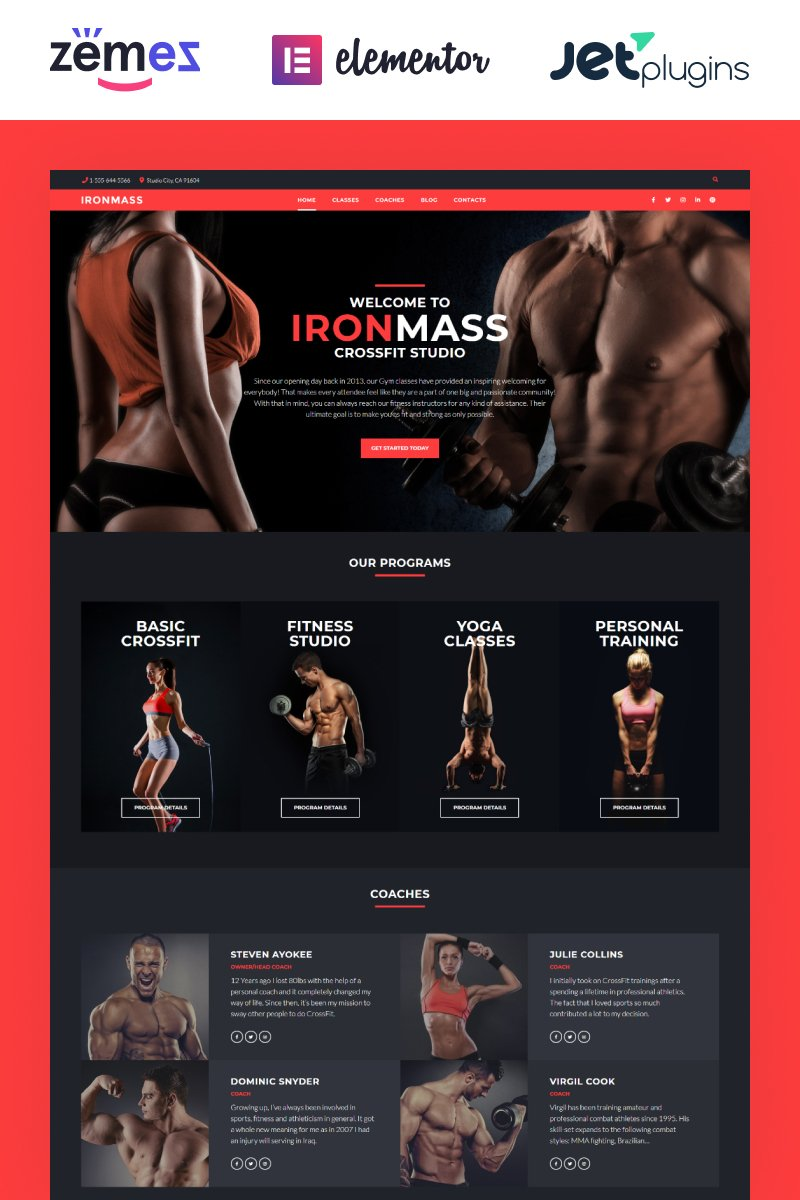 """IronMass - Gym Fitness & Bodybuilding"" 响应式WordPress模板 #58536"