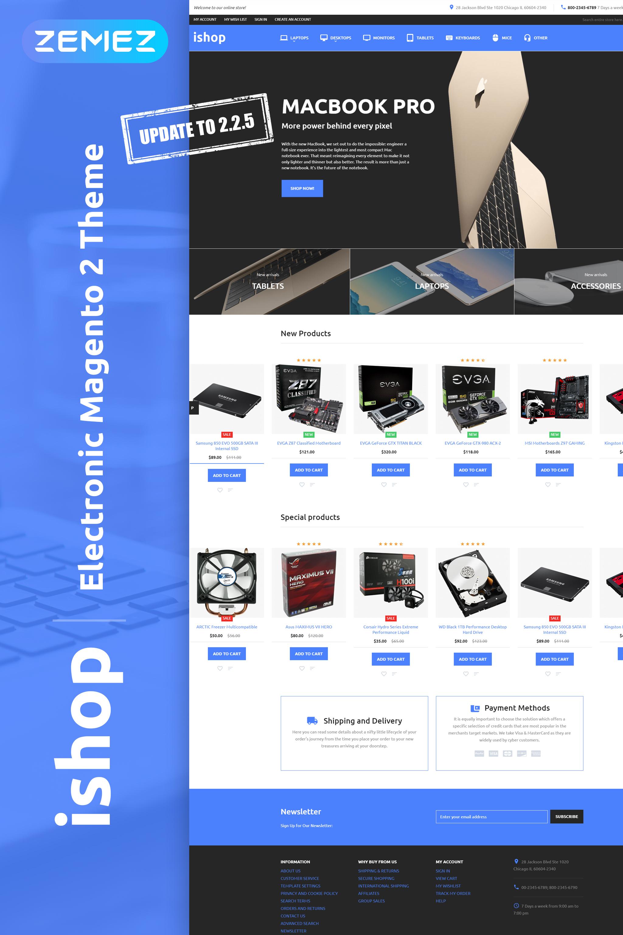 """""""iShop - Électronique"""" thème Magento adaptatif #58509"""