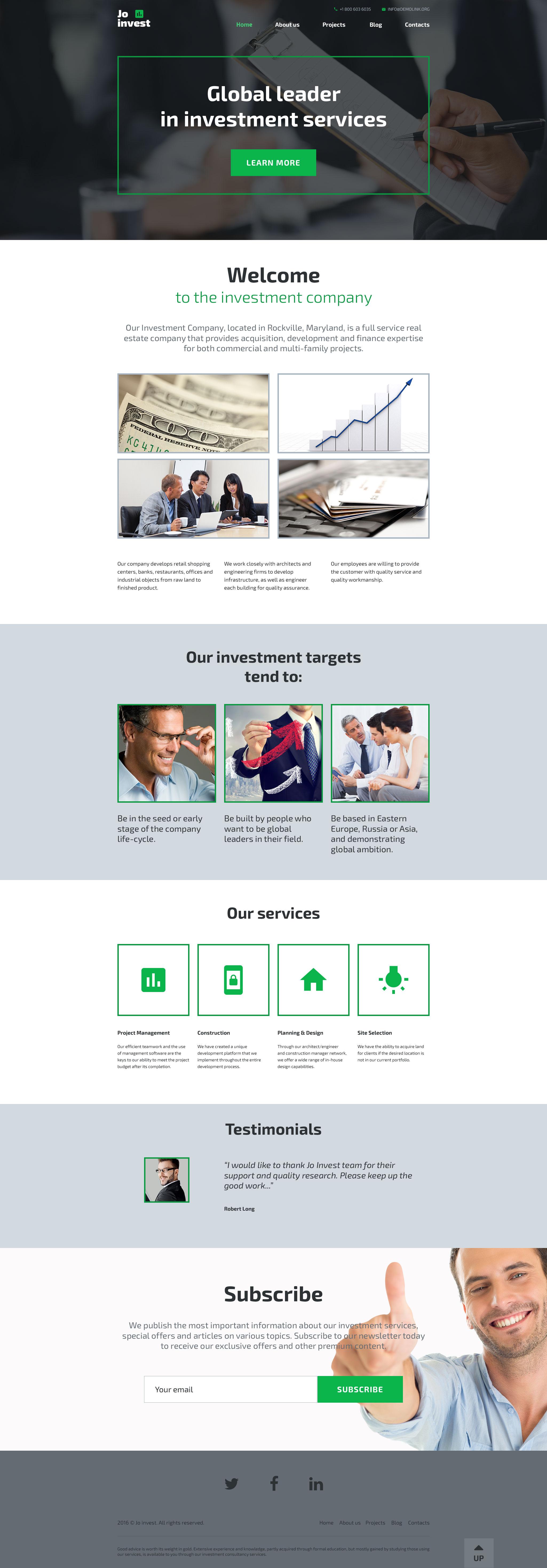 """""""Jo Invest"""" - адаптивний WordPress шаблон №58591 - скріншот"""